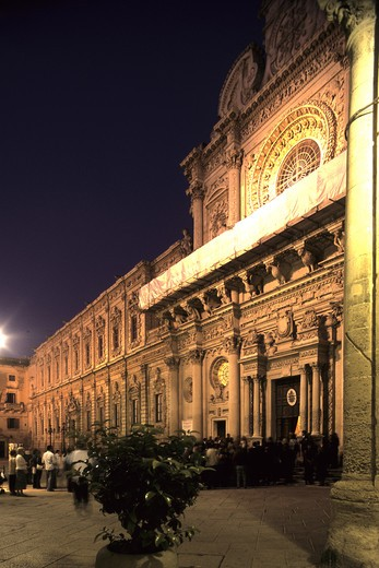 Basilica of Santa Croce with the former Monastery of Celestini, Umberto I street, Lecce, Puglia, Italy : Stock Photo