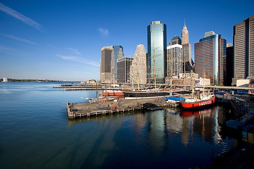 Stock Photo: 4261-96434 USA, new york, manhattan, a view over downtown skyline from the Pier 17