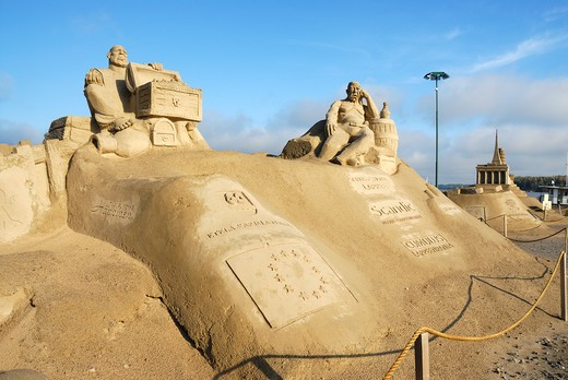 Annual festival of sand sculpture, Lappeenranta, South Karelia, Finland, Scandinavia, Europe : Stock Photo