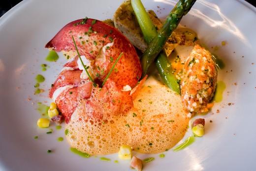 Stock Photo: 4261-96693 33 Restaurant & Lounge , 33 Stanhope Street, A lobster reinterpration by chef Anthony Dawodu, Boston, Ma, USA