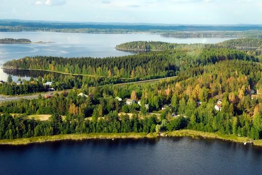 Archipelago on the lake, Savonlinna, Southern Savonia, Finland, Scandinavia, Europe : Stock Photo
