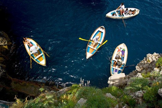 Boats, Capri island, Gulf of Naples, Campania, Italy : Stock Photo