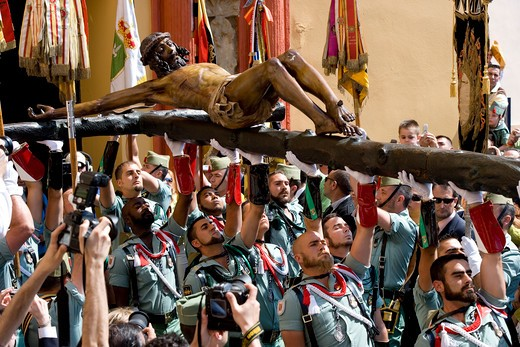 "Stock Photo: 4261-97431 Costa del Sol, Malaga: the Legion, the spanish Army special corps, honours the ""Cristo de la buena muerte"" at the Cofradia de la Esperanza, Spain, Europa"