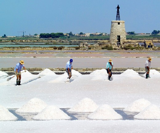 Stock Photo: 4261-97604 Salt, Ettore e Infersa saltworks, Marsala, Sicily, Italy