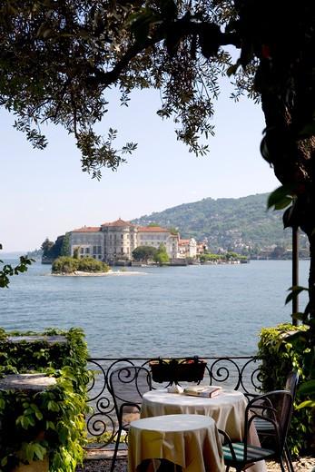 Foreshortening of Isola Bella, Lago Maggiore, Verbania, Piedmont, Italy : Stock Photo