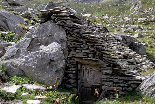 Alpine hut, Monte Rosa, Macugnaga, Piedmont, Italy : Stock Photo