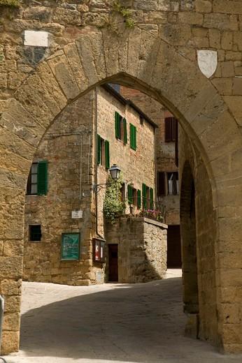 Foreshortening of Monticchiello, Tuscany, Italy : Stock Photo
