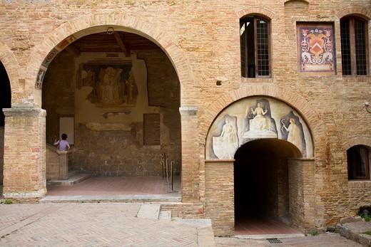 Foreshortening of San Gimignano, Tuscany, Italy : Stock Photo