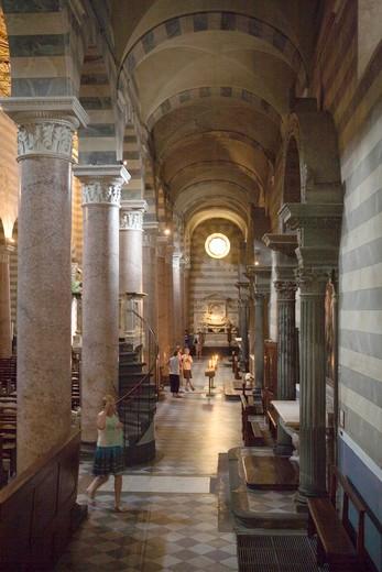 Side aisle, Santa Maria Assunta cathedral, Volterra, Tuscany, Italy : Stock Photo