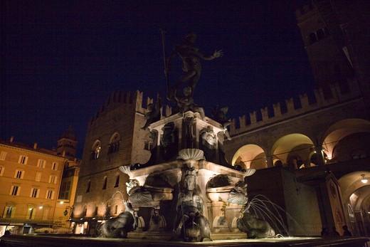 Neptune fountain, Bologna, Emilia Romagna, Italy : Stock Photo