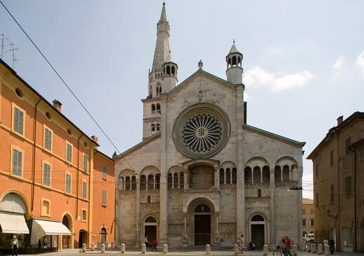 Façade, Cathedral, Modena, Emilia Romagna, Italy : Stock Photo