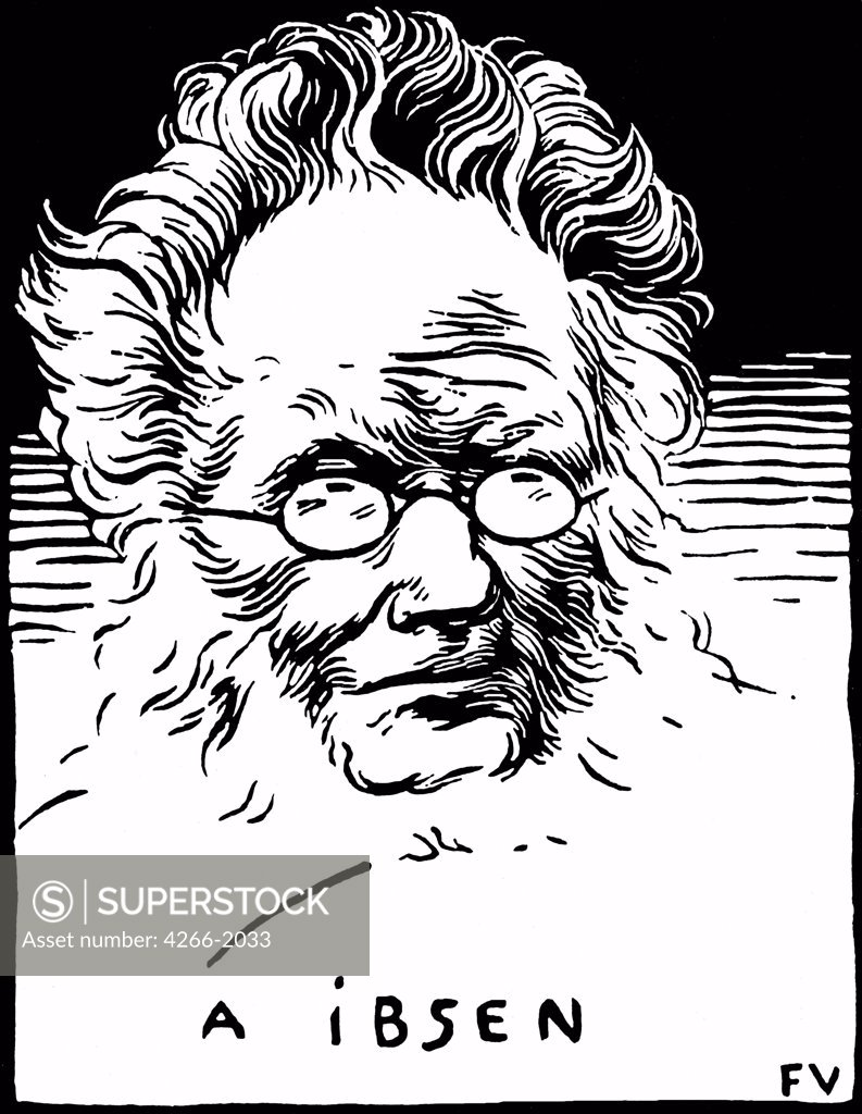 Stock Photo: 4266-2033 Portrait of Henrik Ibsen by Felix Edouard Vallotton, woodcut, 1894, 1865-1925, Switzerland, Zurich, Swiss Federal Institute of Technology, 16x12, 5