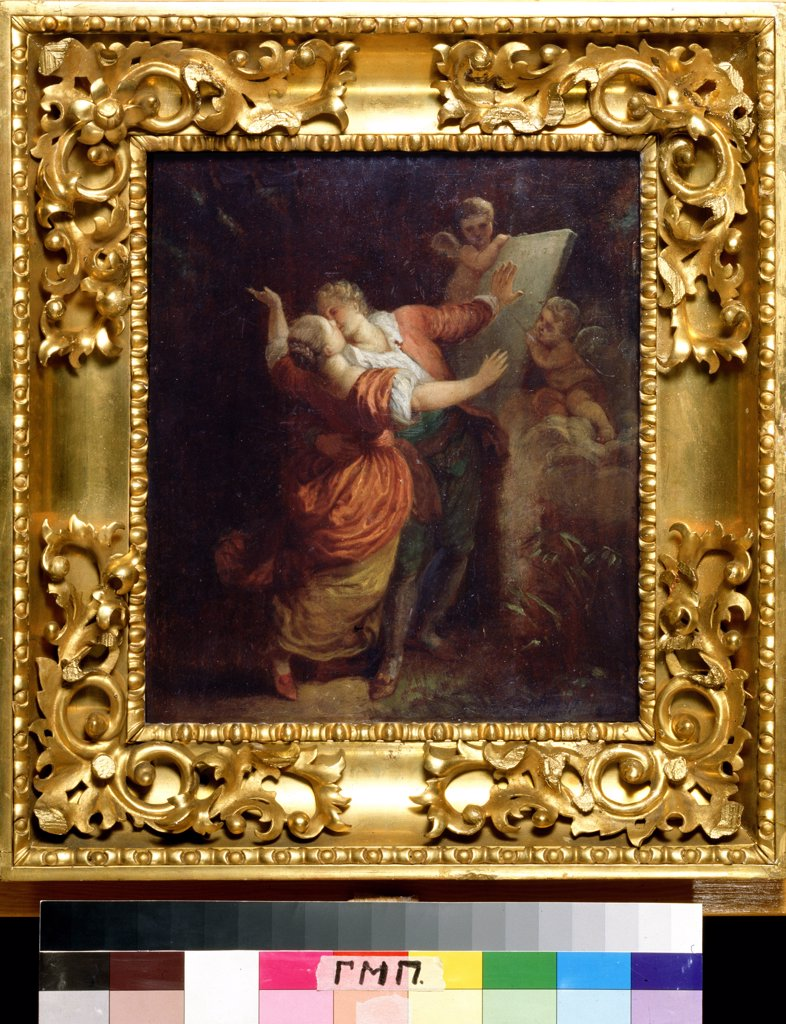 Stock Photo: 4266-1004 Oath Of Love by Jean Honore Fragonard, oil on wood, 1732-1806, Russia, Moscow, A. Pushkin Memorial Museum
