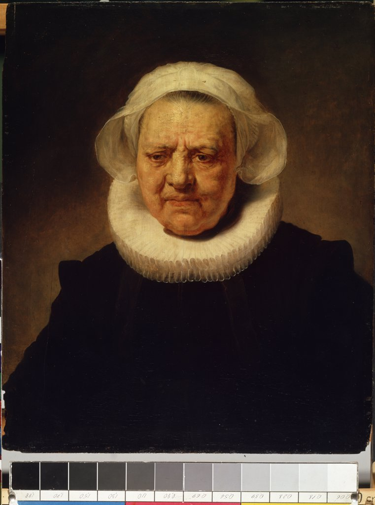Portrait of lady, School of Rembrandt van Rhijn, Oil on wood, 17th century, Lithuania, Kaunas, State M. Ciurlionis Art Museum, 64x52 : Stock Photo