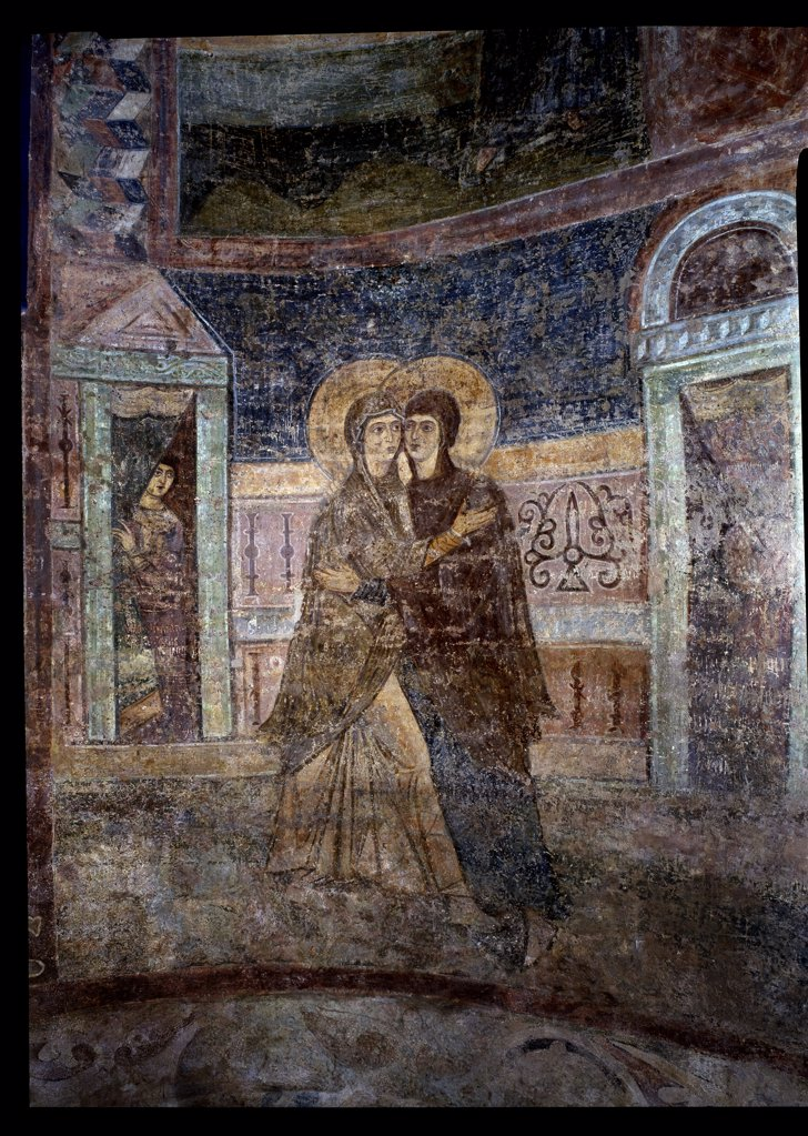 Ancient Russian, fresco, 11th century, Ukraine, Kiev, Saint Sophia Cathedral, : Stock Photo