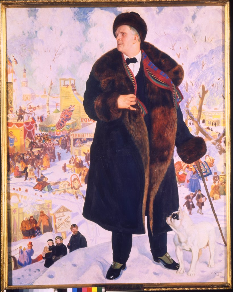 Portrait of Feodor Chaliapin by Boris Michaylovich Kustodiev, oil on canvas, 1921, 1878-1927, Russia, St. Petersburg, State Museum of Theatre and Music Art, 215x172 : Stock Photo