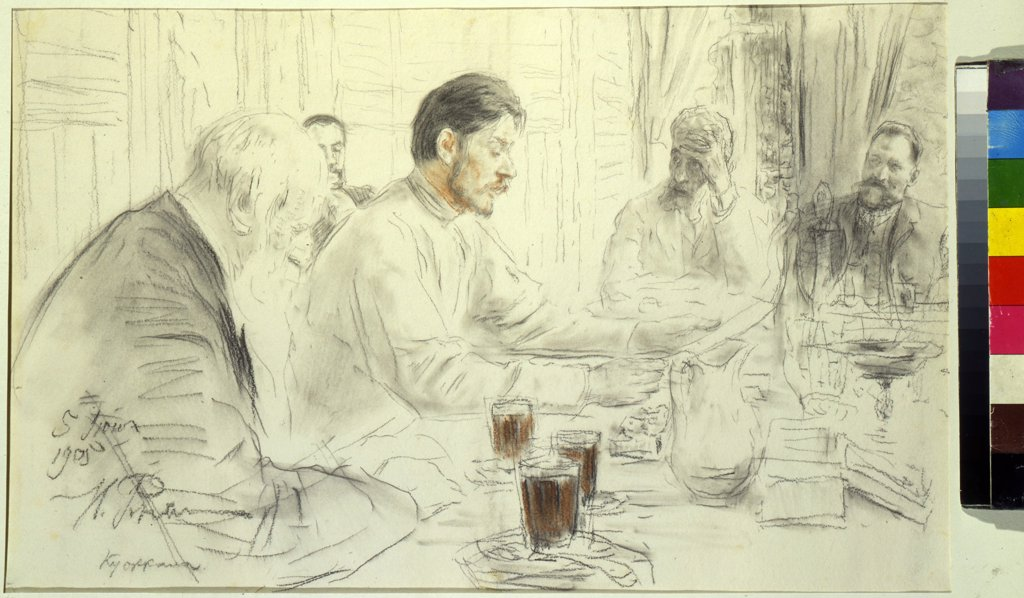 Stock Photo: 4266-10294 Aleksei Maksimovich Gorky with four man by Ilya Yefimovich Repin, pencil, sanguine on paper, 1905, 1844-1930, Russia, Moscow, Museum of Private Collections in A. Pushkin Museum of Fine Arts, 29, 1x45, 5