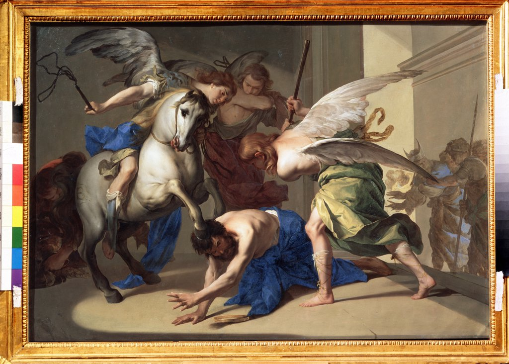 Expulsion of Heliodorus from temple by Bernardo Cavallino, oil on copper, circa 1650, 1616-1656, School of Naples, Russia, Moscow, State Pushkin Museum of Fine Arts, 62x88 : Stock Photo