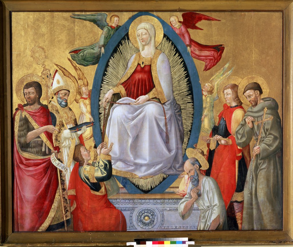 Assumption of Blessed Virgin by Neri di Bicci, tempera on panel, 1464-1465, 1418-1492, Florentine School, Russia, Moscow, State Pushkin Museum of Fine Arts, 149, 5x185 : Stock Photo