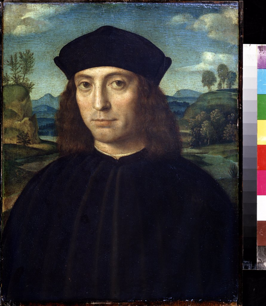 Stock Photo: 4266-10363 Portrait of man in black outfit by Francesco Francia, tempera on panel, 1450-1517, Bolognese School, Russia, Moscow, State Pushkin Museum of Fine Arts, 47x36