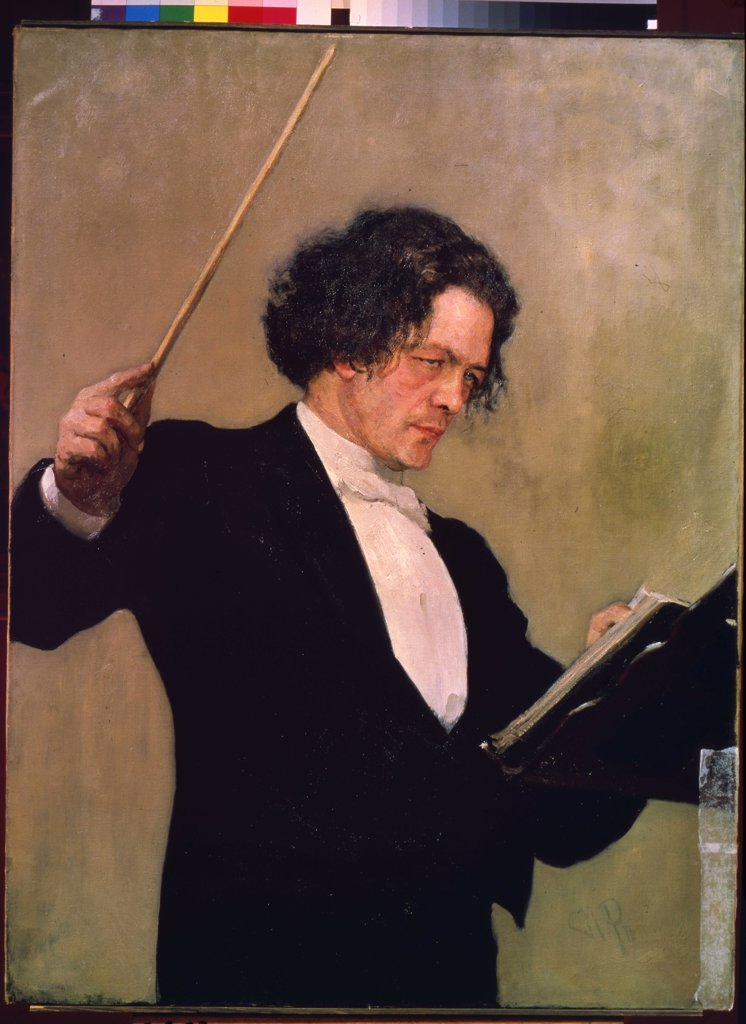 Stock Photo: 4266-10376 Portrait of Anton Rubinstein by Ilya Yefimovich Repin, oil on canvas, 1887, 1844-1930, Russia, St Petersburg, State Russian Museum, 110x85