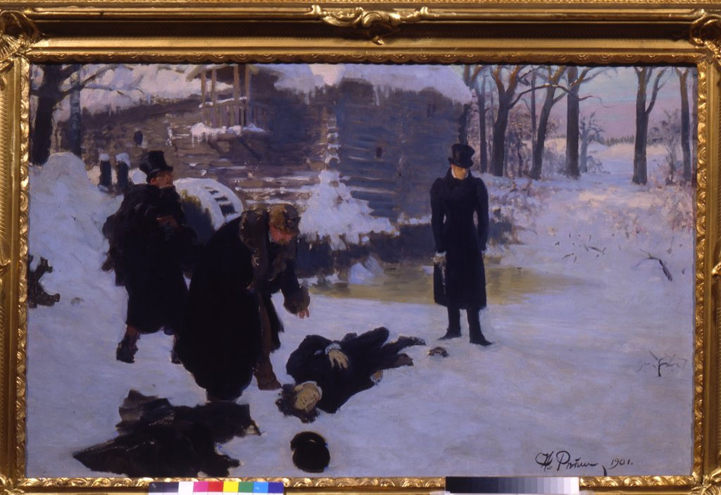 Stock Photo: 4266-10424 Duelling pistols by Ilya Yefimovich Repin, Oil on canvas , 1901, 1844-1930, Russia, St. Petersburg, A. Pushkin Memorial Museum, 52x103