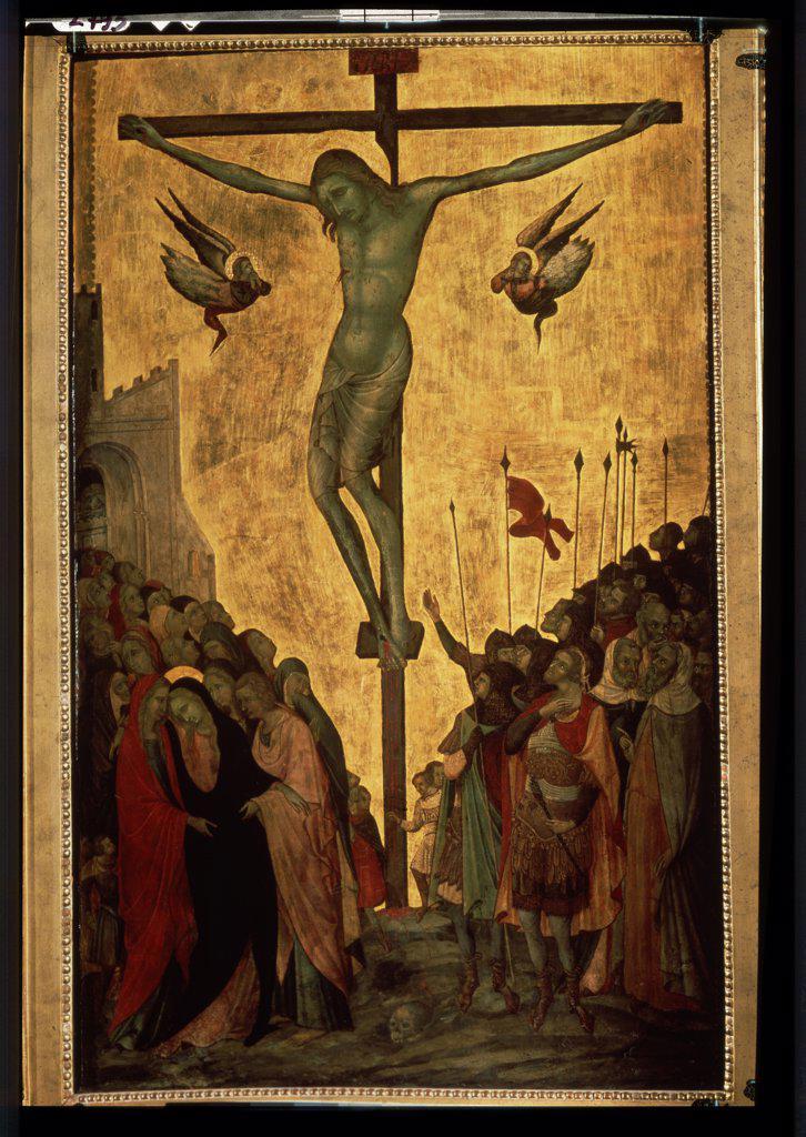Stock Photo: 4266-10476 Crucifixion by Bartolomeo Bulgarini, tempera on panel, 14th century, circa 1300/10-1378, Russia, St. Petersburg, State Hermitage, 91, 5x55, 5