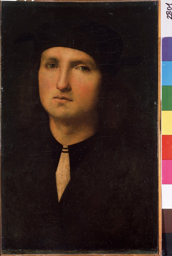 Stock Photo: 4266-10486 Young man portrait by Perugino, oil on canvas, Between 1495 and 1500, circa 1450-1523, Russia, St. Petersburg, State Hermitage, 40, 5x25, 5