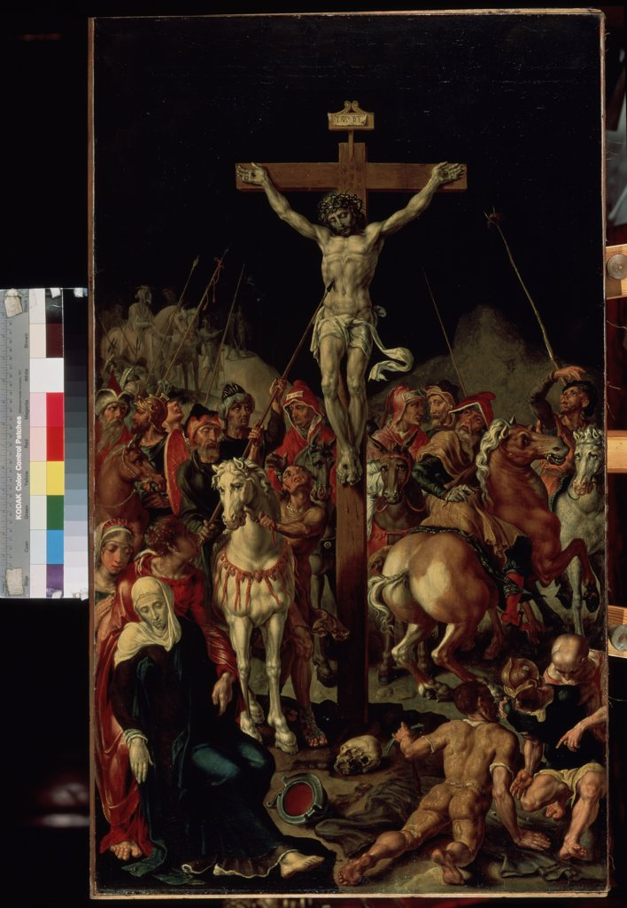 The crucifixion by Maarten Jacobsz van Heemskerck, oil on canvas , between 1545 and 1550, 1498-1574, Russia, St. Petersburg , State Hermitage, 101x58, 5 : Stock Photo