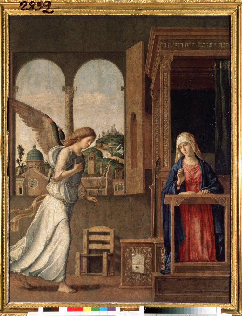 Stock Photo: 4266-10518 Annunciation by Giovanni Battista Cima da Conegliano, oil on canvas, 1495, circa 1459-1517, Russia, St. Petersburg , State Hermitage, 136x107