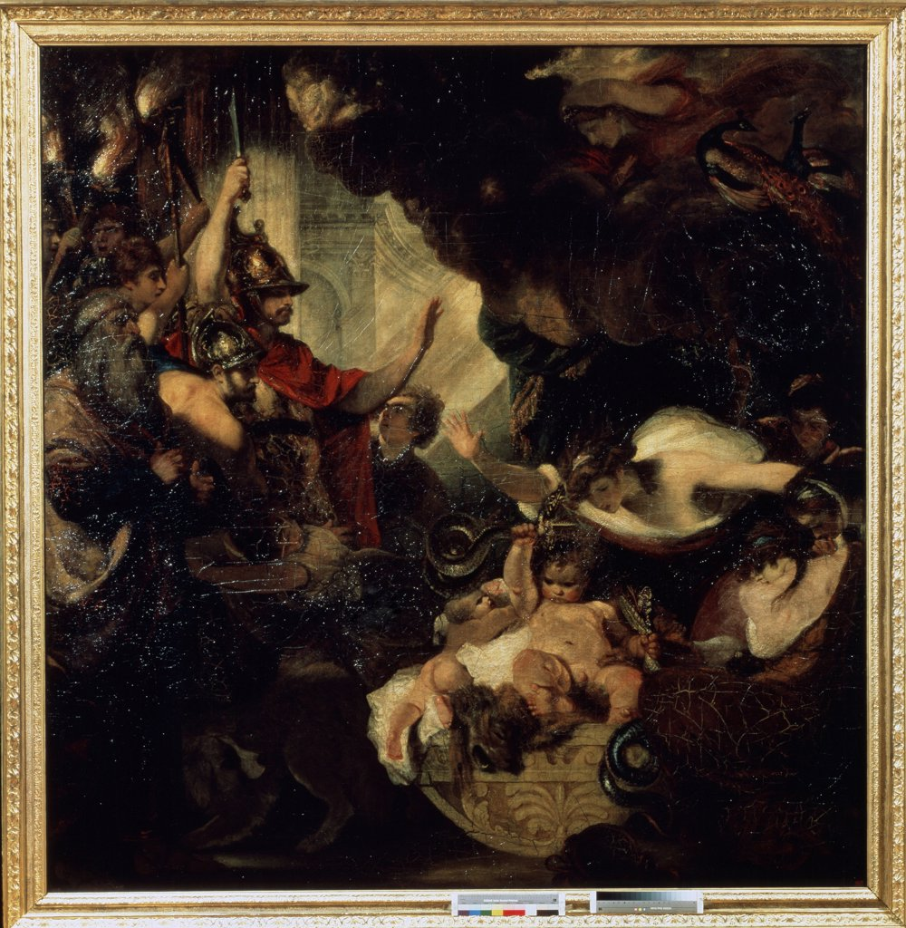 Scene from roman mythology by Sir Joshua Reynolds, oil on canvas, 1786, 1732-1792, Russia, St. Petersburg, State Hermitage, 303x297 : Stock Photo