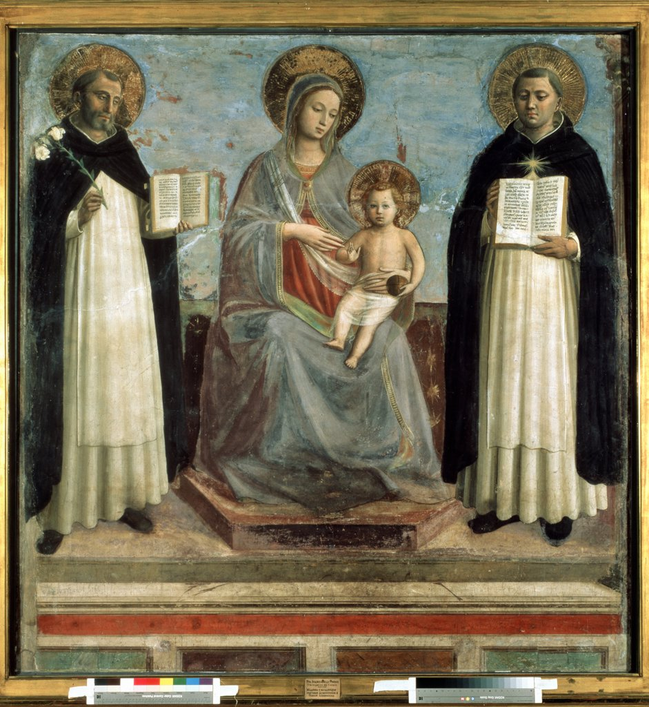 Virgin Mary with Jesus and saints by Fra Giovanni known as Angelico da Fiesole , fresco, 1424-1430, circa 1400-1455, Russia, St. Petersburg, State Hermitage, 196x187 : Stock Photo