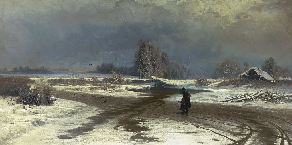 Stock Photo: 4266-10541 Winter landscape by Fyodor Alexandrovich Vasilyev, oil on canvas, 1871, 1850-1873, Russia, St. Petersburg, State Russian Museum, 55, 5x108, 5