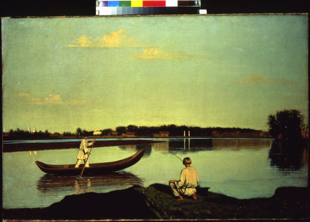 Stock Photo: 4266-10553 Landscape with rowing man and fishing boy by anonymous painter, painting, Russia, St. Petersburg, State Russian Museum, 67x102
