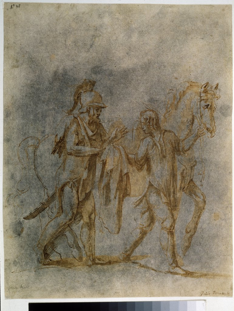 Stock Photo: 4266-10601 St Martin giving cloak to beggar by Giulio Romano, pen, brush, watercolor, Indian ink on paper, 1499-1546, Roman School, Russia, Moscow, State Pushkin Museum of Fine Arts, 33, 5x26