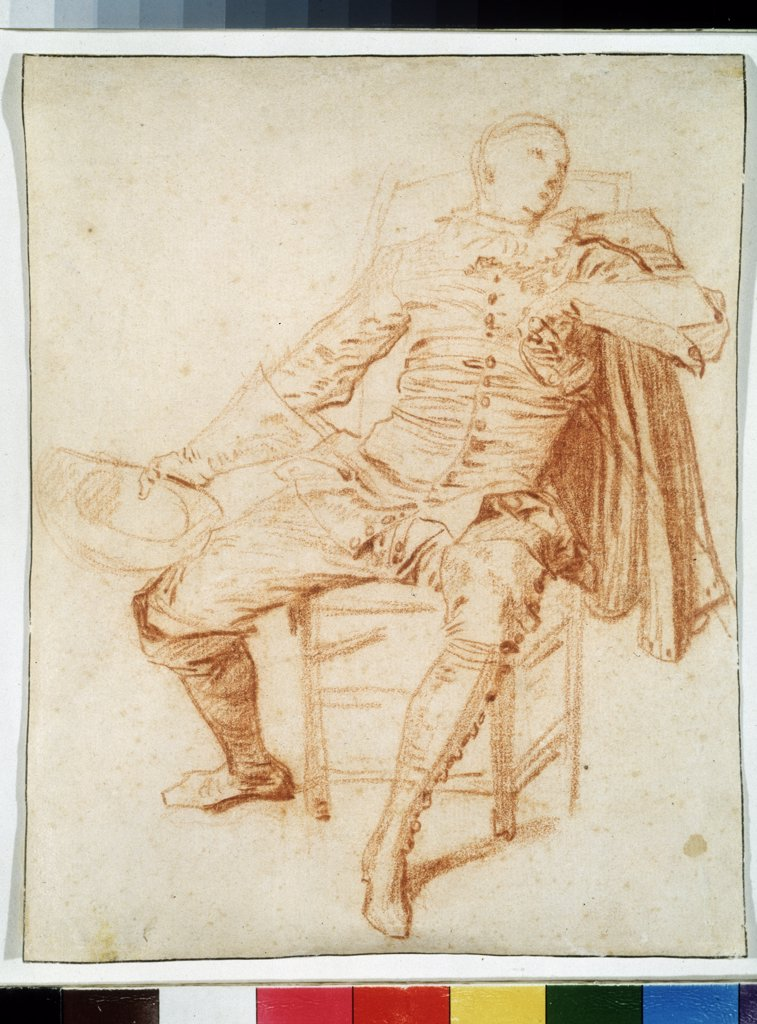 Stock Photo: 4266-10614 Stage costume project by Jean Antoine Watteau, sanguine on paper, 1684-1721, Russia, Moscow, State Pushkin Museum of Fine Arts, 21, 5x17, 2