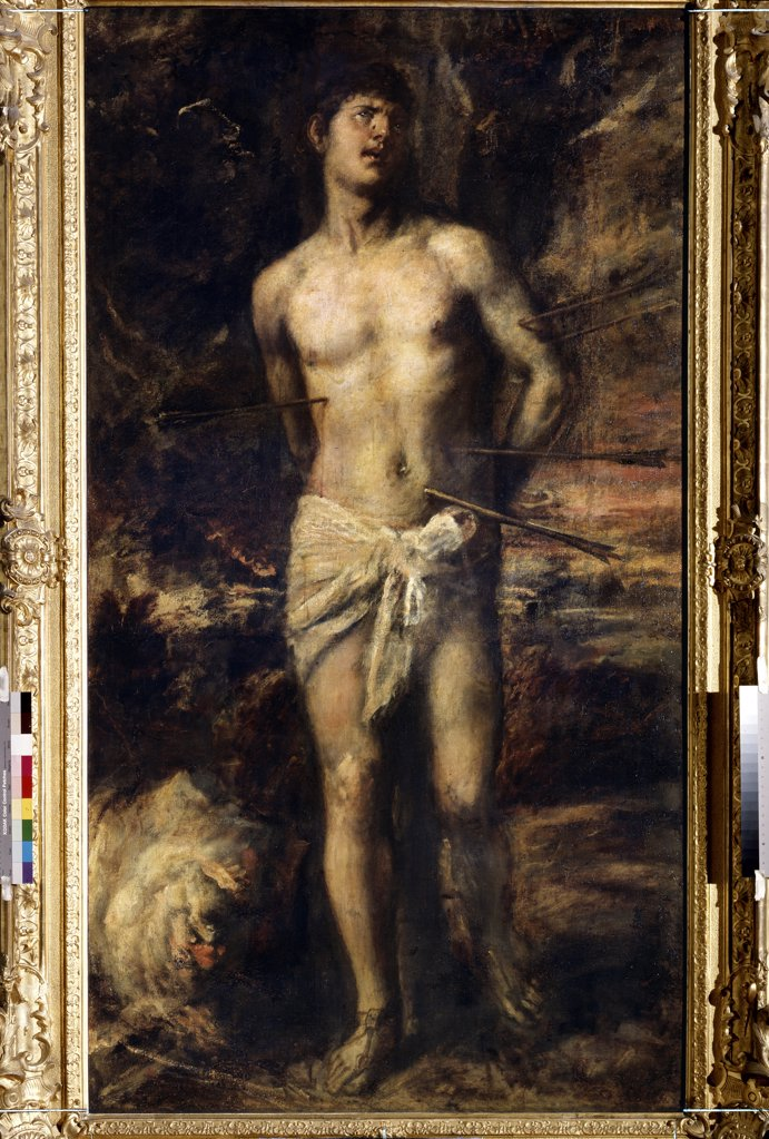 Stock Photo: 4266-10669 Saint Sebastian by Titian, oil on canvas, circa 1570, 1488-1576, Russia, St. Petersburg, State Hermitage, 210x115, 5