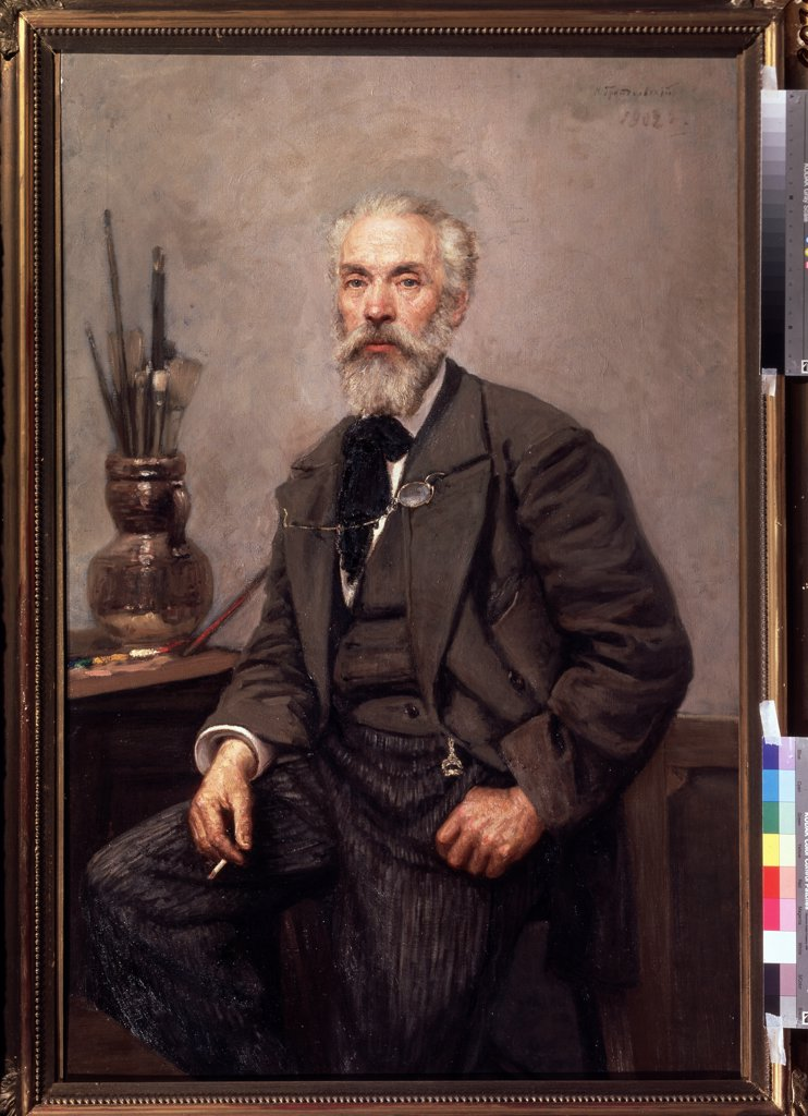 Konstantin Savitsky by Nikolai Karlovich Grandkovsky, Oil on canvas, 1902, 1864-1907, Russia, Moscow, State Tretyakov Gallery, 133x84, 5 : Stock Photo