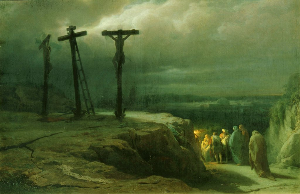 Crucifixion by Vasili Petrovich Vereshchagin, Oil on canvas, 1869, 1835-1909, Russia, Moscow, State Tretyakov Gallery, 66, 5x100 : Stock Photo