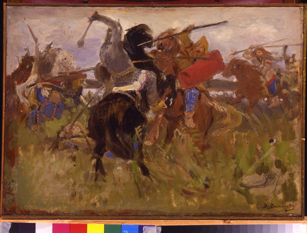 Stock Photo: 4266-10746 Battle by Viktor Mikhaylovich Vasnetsov, oil on canvas, 1879, 1848-1926, Russia, Moscow , State Tretyakov Gallery, 27, 2x39, 4