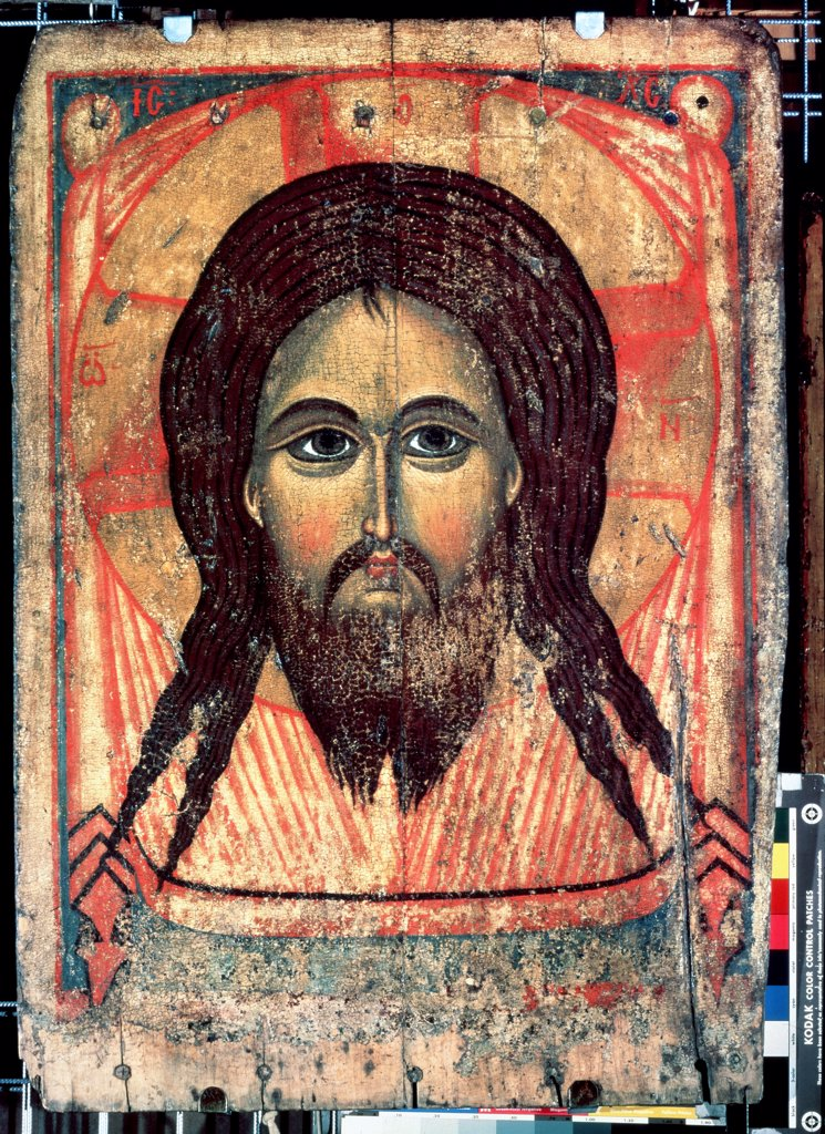 Stock Photo: 4266-10760 Jesus Christ, Russian icon, tempera on panel, 14th century, Russia, Moscow , State Tretyakov Gallery, . 104x74