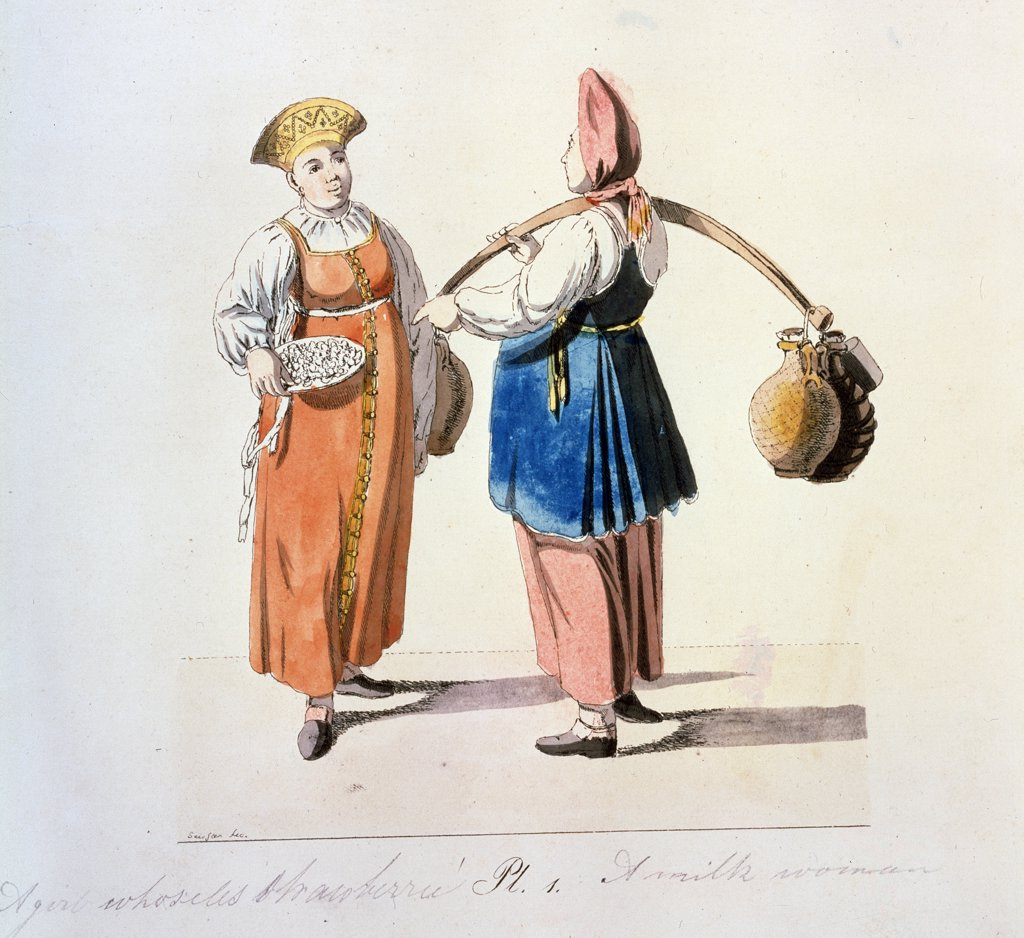 Stock Photo: 4266-10769 Selling Dairy by Christian Gottfried Heinrich Geissler, 1799, 1770-1844, Russia, Moscow Museum of Private Collections in A. Pushkin Museum of Fine Arts,