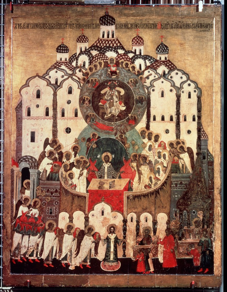 Liturgy, Russian icon, tempera on panel, 16th century, Russia, Moscow , State Tretyakov Gallery, : Stock Photo