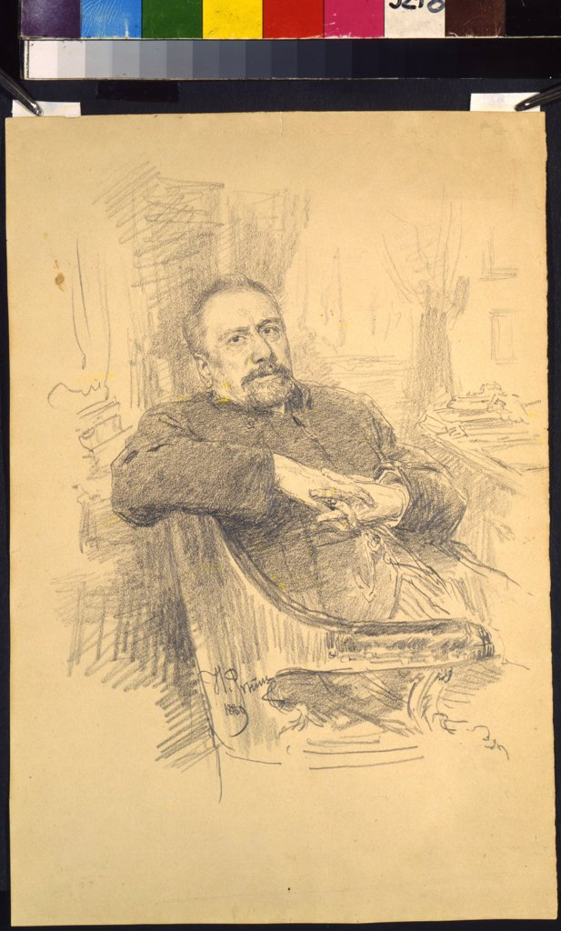 Stock Photo: 4266-10796 Portrait of Nikolai Leskov by Ilya Yefimovich Repin, pencil on paper, 1889, 1844-1930, 19th century, Russia, Moscow, Museum of Private Collections in A. Pushkin Museum of Fine Arts, 29, 7x20, 2