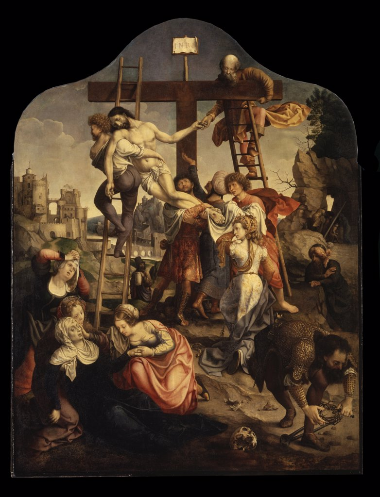 Descent from cross by Jan Gossaert, oil on canvas, circa 1520, circa 1478-1532, Russia, St. Petersburg, State Hermitage, 141x106, 5 : Stock Photo