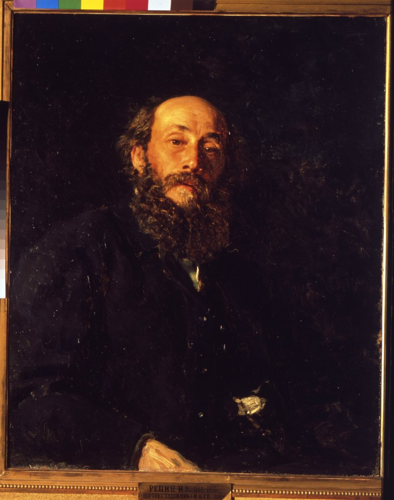 Portrait of man with beard by Ilya Yefimovich Repin, Oil on canvas, 1880, 1844-1930, Russia, Moscow, State Tretyakov Gallery, 82, 5x66, 2 : Stock Photo