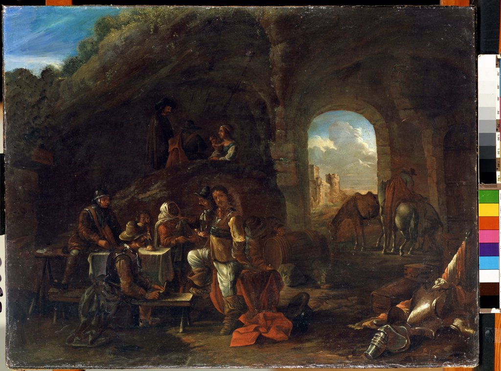 Stock Photo: 4266-10871 People sitting at table in cave by Philips Wouwerman, oil on wood, 1619-1668, 18th century, Lithuania, Kaunas, State M. Ciurlionis Art Museum, 48x63