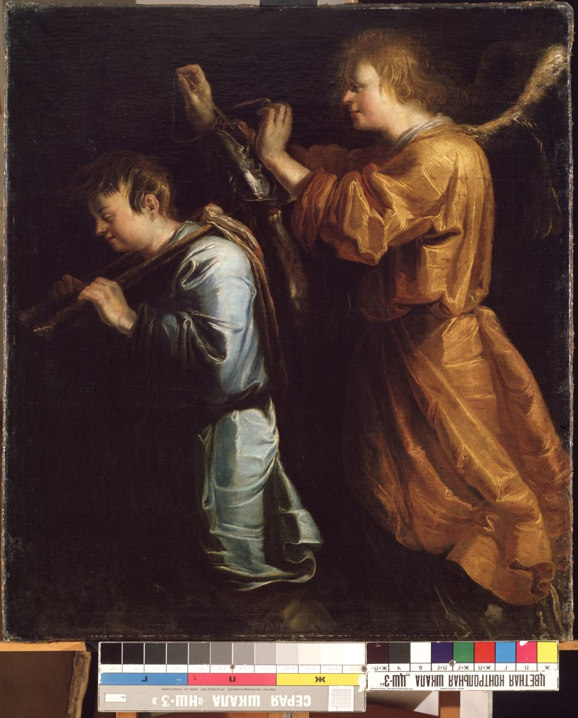 Tobias and angel by Jan van de Venne, oil on canvas, before 1600-after 1651, Lithuania, Kaunas , State M. Ciurlionis Art Museum, 119x107 : Stock Photo