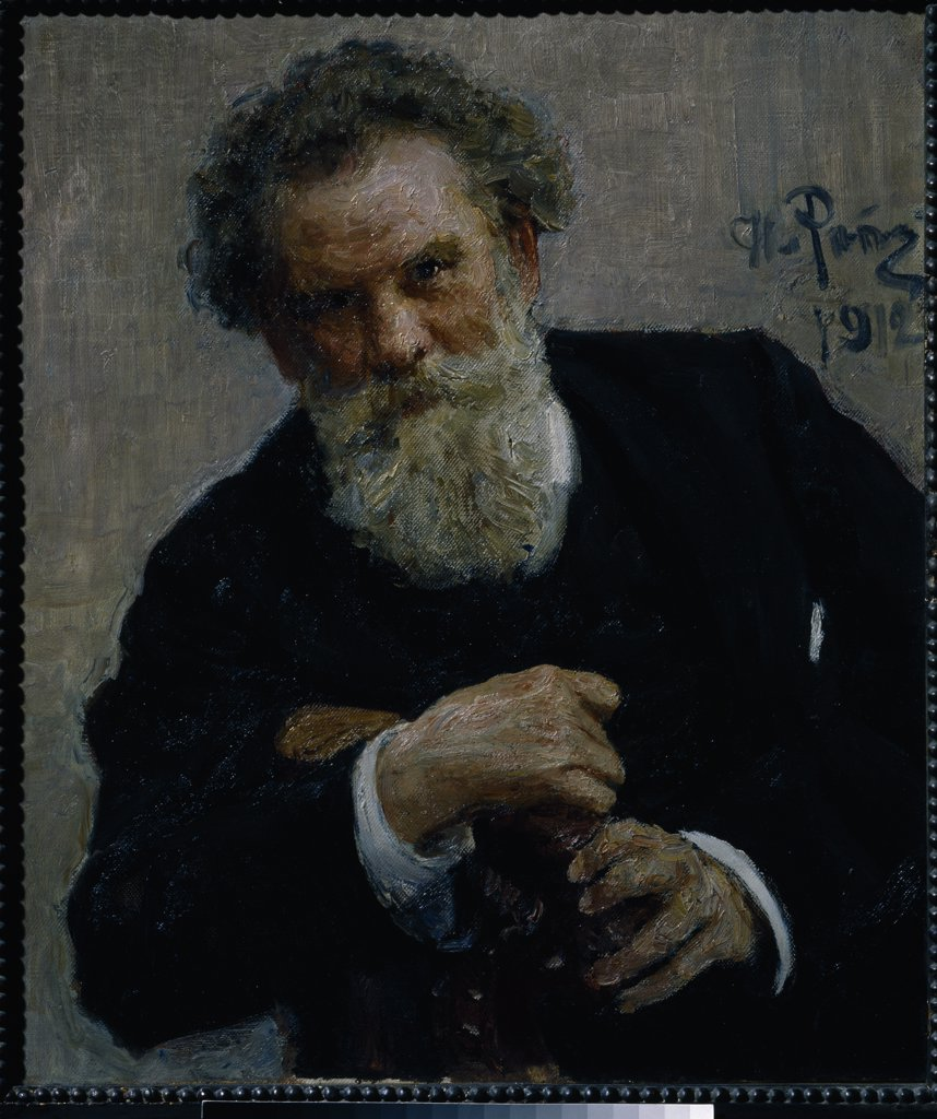 Stock Photo: 4266-1088 Portrait of Vladimir Korolenko by Ilya Yefimovich Repin, Oil on canvas Russian, 1912, 1844-1930, Russia, Moscow, State Tretyakov Gallery, 75x64
