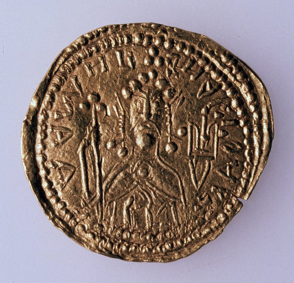 Stock Photo: 4266-10913 Russian coin, gold, 980-1015, Russia, St. Petersburg, State Hermitage, D 2, 3